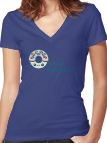 Donut Stop Believin' Women's Fitted V-Neck T-Shirt