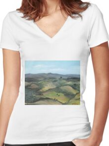 Montecastello view #1 Women's Fitted V-Neck T-Shirt