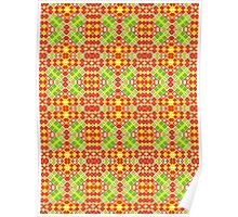 Red, Green and Yellow Abstract Design Pattern Poster