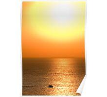 Boat in golden sunset Poster