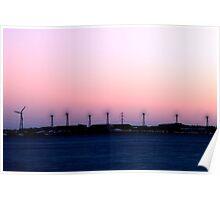 Windturbines at night Poster