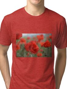 Red Poppies Blooming Tri-blend T-Shirt