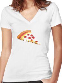 Pizza - 8 bit Women's Fitted V-Neck T-Shirt