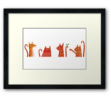Four Cats and a Bird Framed Print