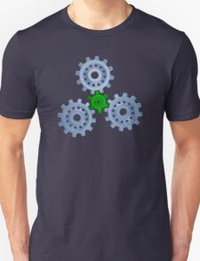 Silver gears with one green T-Shirt