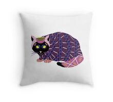 Abstract Cat [BLACK] Throw Pillow