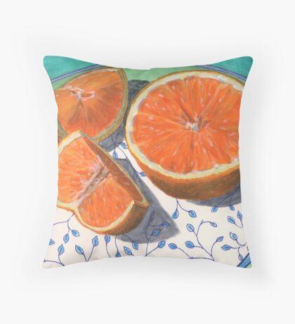 Sweet, sliced, homegrown orange Throw Pillow