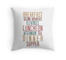7 Hobbit Meals - Breakfast, Second Breakfast, Elevenses . . .  Throw Pillow
