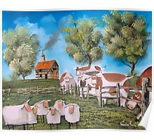 SHEEP COWS PAINTING Poster