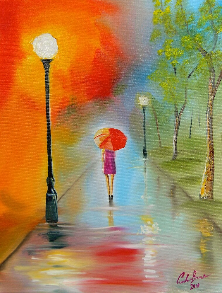 Red umbrella painting by gordonbruce redbubble for Painting red umbrella