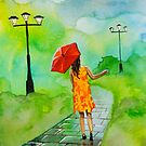 RED UMBRELLA PAINTING by gordonbruce