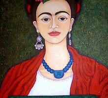 Frida Kahlo portrait with dalias  by Madalena Lobao-Tello