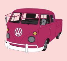 Pink Split Screen VW Kombi Pick up One Piece - Short Sleeve