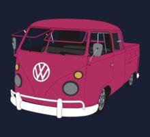 Pink Split Screen VW Kombi Pick up Kids Tee