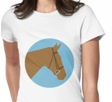 Minimalist Horse → Brown/Blue  Womens Fitted T-Shirt
