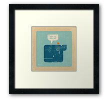 Square Whale Says Hello to Bird Framed Print
