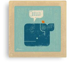 Square Whale Says Hello to Bird Canvas Print