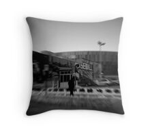 The mystery of life presses down through his footsteps Throw Pillow