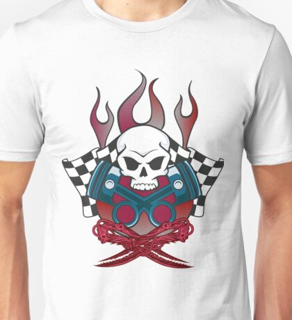 Flaming Racing Skull Unisex T-Shirt