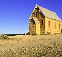Historic church landscape - Silverton NSW by graphicscapes