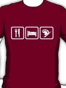 Funny Eat Sleep Painting Repeat Shirt T-Shirt