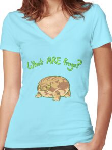 What ARE Frogs? (Desert Rain edition) Women's Fitted V-Neck T-Shirt