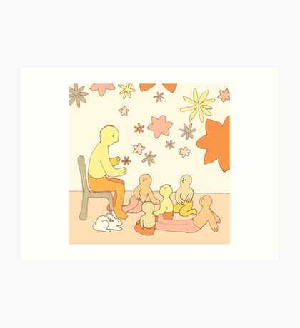 Apricot Teaching - from my original series, Apricot World Art Print