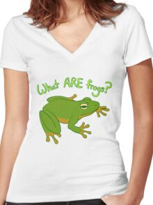 What ARE Frogs? (Basic edition) Women's Fitted V-Neck T-Shirt