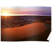 "Sunrise over ""Big Red"" dune - Birdsville, QLD Poster"