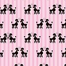 Black Poodles Pink Strips by purplesensation