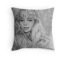 self,charcoal, niki, pencil, portrait Throw Pillow