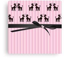Poodles And Pink Hearts Canvas Print