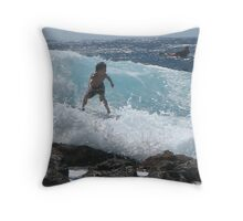 Young Surfer at Pohoiki Throw Pillow
