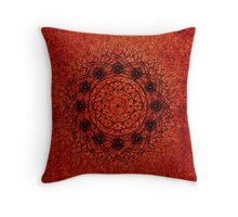 Grunge Style Geometric Mandala Throw Pillow