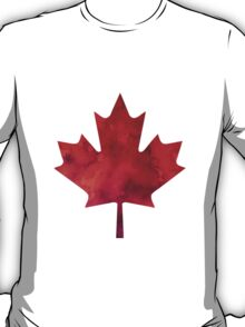 Canada Day Watercolour Maple Leaf Pattern T-Shirt