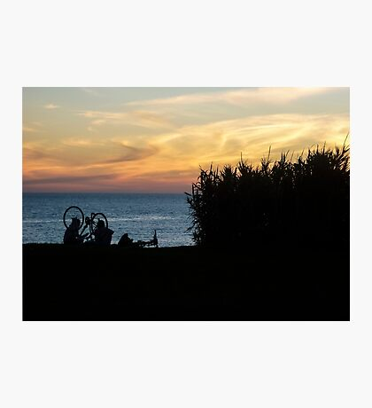 Two Women Watching the Sunset Photographic Print