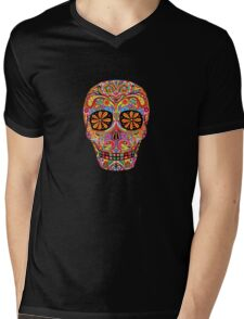 Day of the Dead Sugar Skull shirt Mens V-Neck T-Shirt