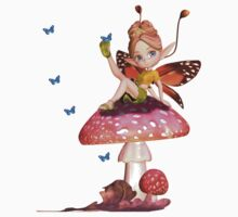 Cute Little Fairy T Shirt - Fairy On A Shroom by Moonlake