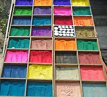 an amazing array of coloured powders, Kathmandu by Matt Eagles