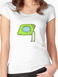 Funny Alien Monster Character Women's Fitted Scoop T-Shirt