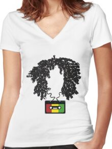Bob and Cassette Weave Women's Fitted V-Neck T-Shirt