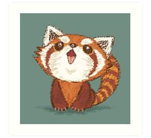 Red panda happy Art Print