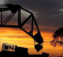 Coober Pedy Junkyard Crane at Sunset by Les Pullen
