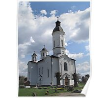 White church and clouds Poster