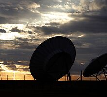 Telstra Satellite Dishes, Coober Pedy Sunrise by Les Pullen