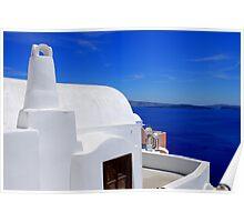 Santorini's Blue Whiteness Poster