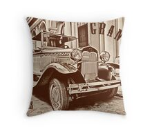 Vintage old classic car on postcard Throw Pillow