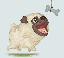Happy Pug and bone by Toru Sanogawa