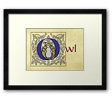 O Is for Owl - Manuscript Page Framed Print