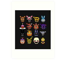 Five Nights at Freddy's - Pixel art - Multiple characters Art Print